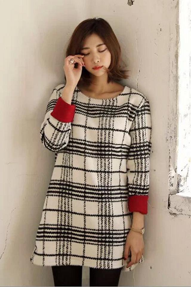 韩版黑白格子圆领针织衫