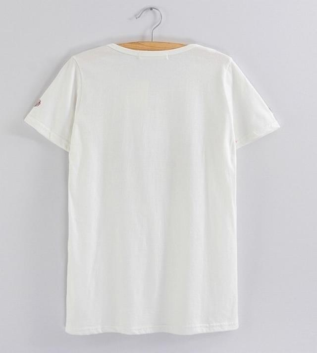 韩国手绘爱心纯棉白t恤衫