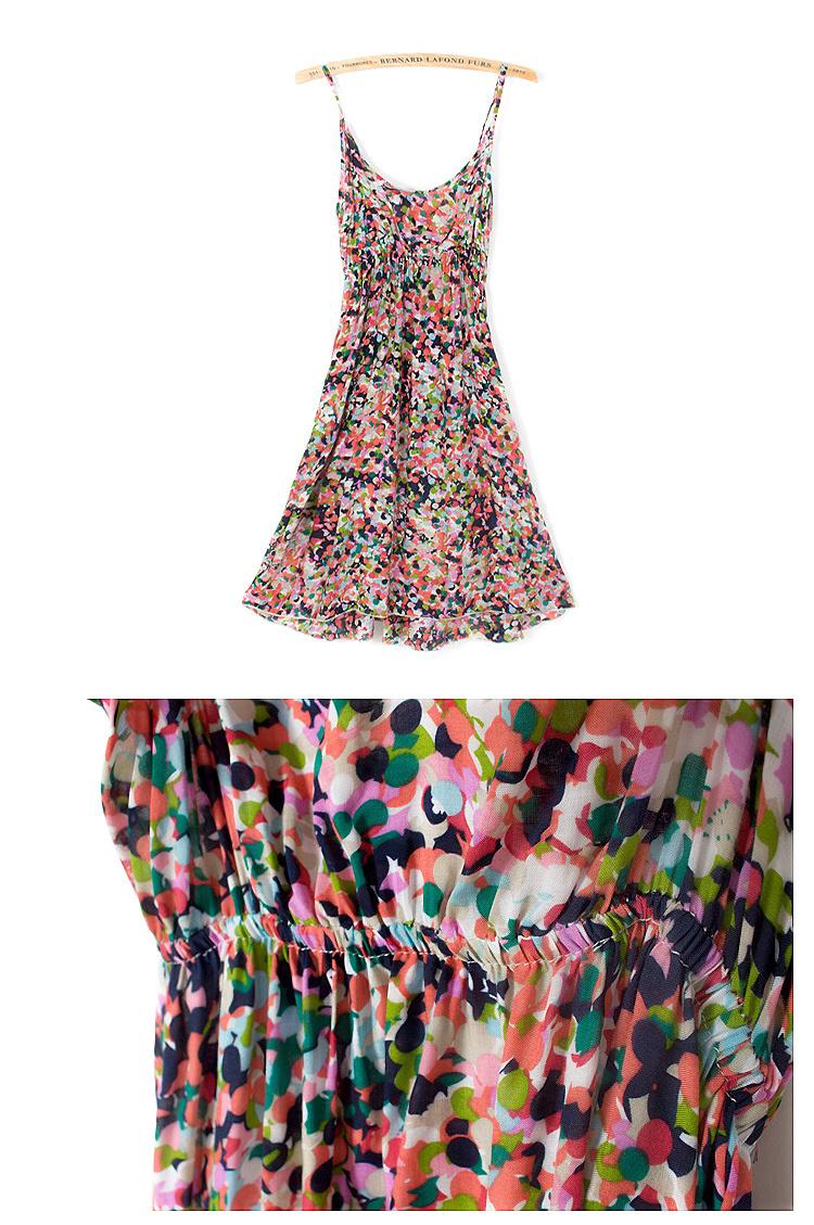 夏装花朵吊带棉绸沙滩连衣裙