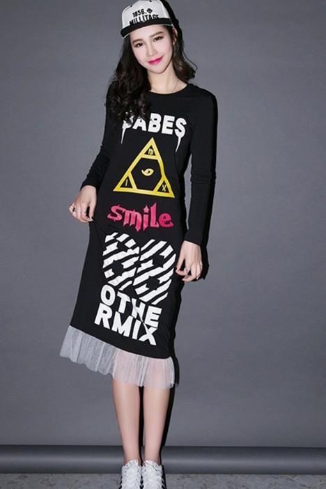 七格格~网纱下摆创意连衣裙