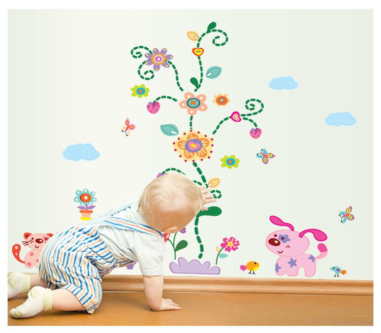 萌趣73可爱猫狗一家彩色墙贴-来自蘑菇街优店