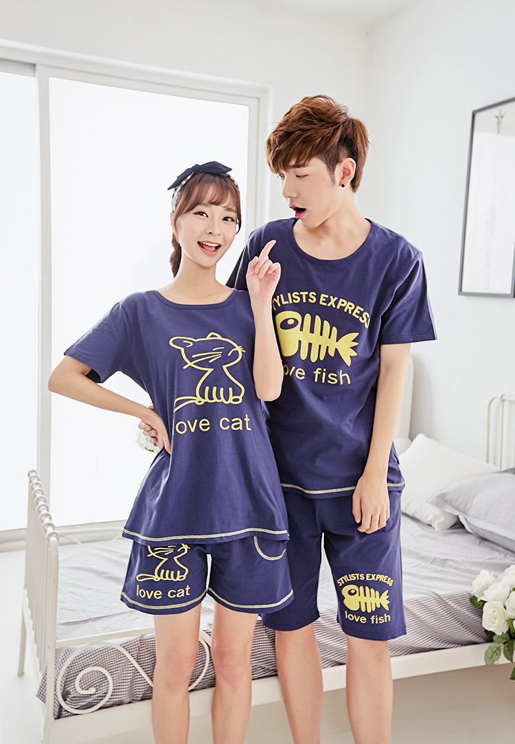 韩版可爱猫和鱼情侣睡衣