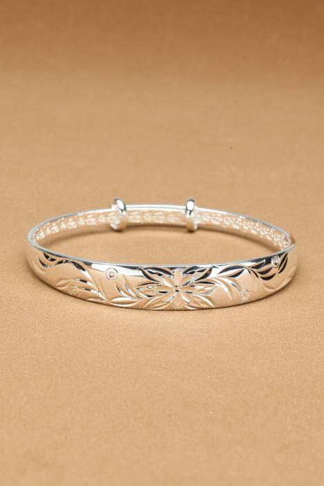 老凤祥,手镯,新款,纯银,千足银,实心,礼物,手环,银饰,小清新,闺蜜图片