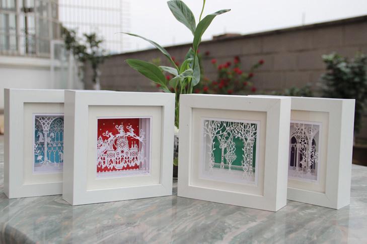 工艺:手工3d立体纸雕+手工制作实木相框