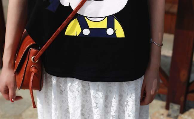 卡通女孩图像短袖女t恤