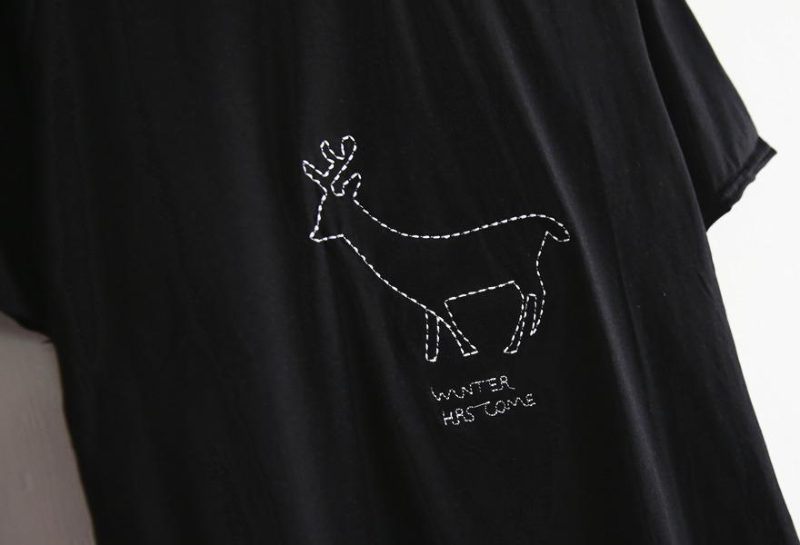 杰尼龟.铅笔画刺绣小动物t恤