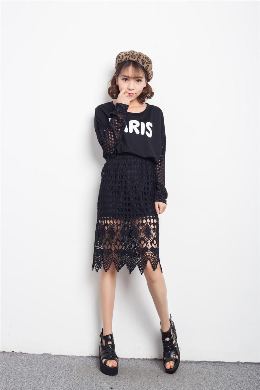 2015蕾丝花边高腰半身裙