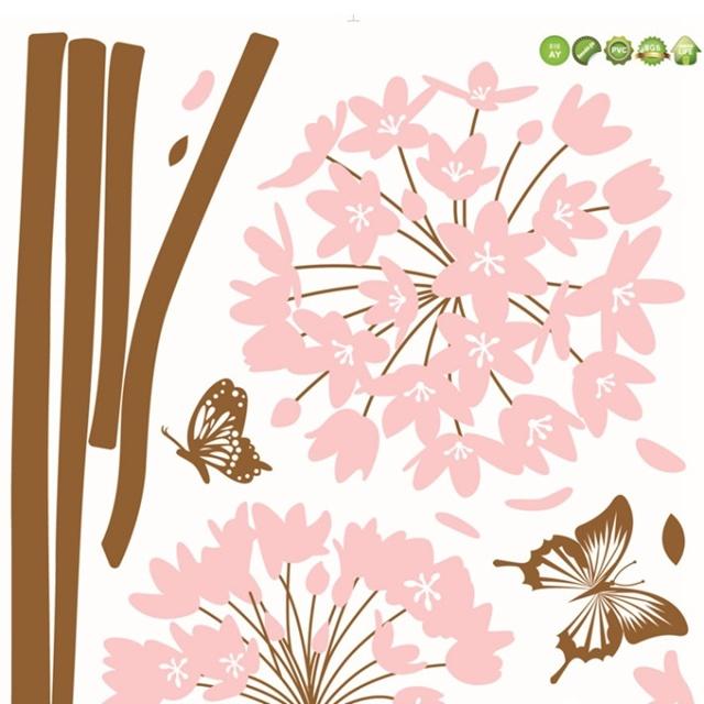 粉色绣花球可移动墙贴