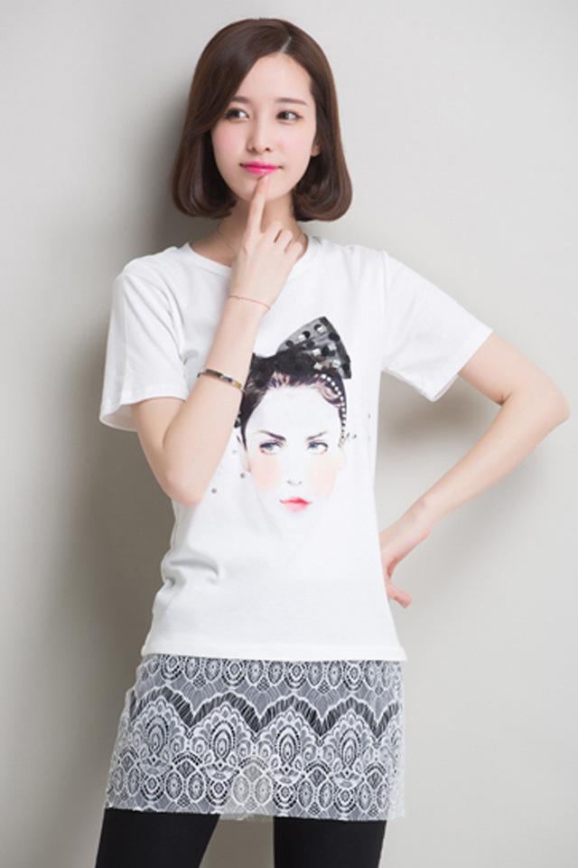 夏装新款美女头像短袖t恤