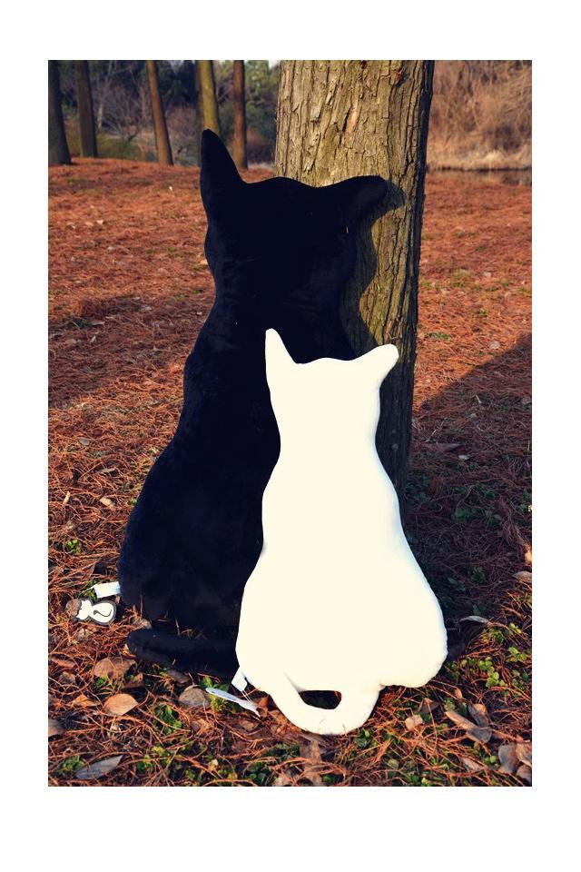 背影猫咪靠垫抱枕