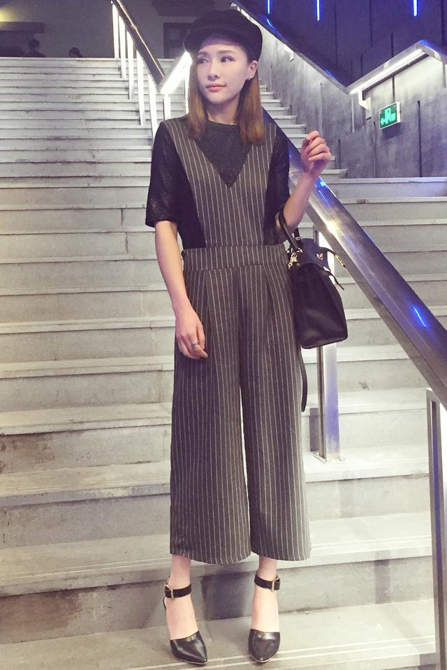 dds丁丁家◆欧美大牌范条纹阔腿裤九分裤背带裤子 春装新款女装