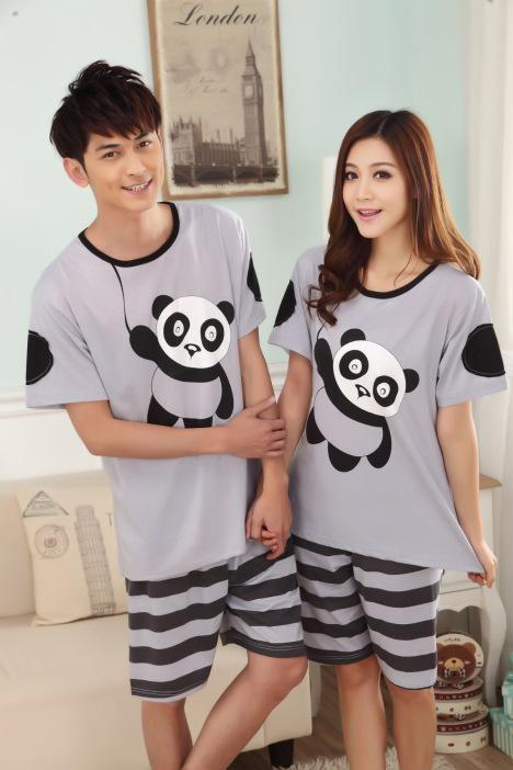 2015夏季可爱熊猫情侣家居服套装