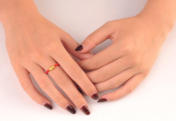纯银转运珠红绳戒指-来自蘑菇街优店