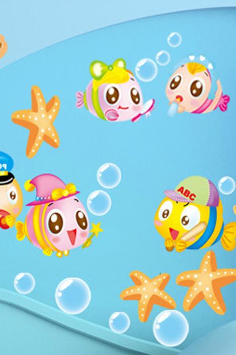 可爱娃娃鱼墙贴