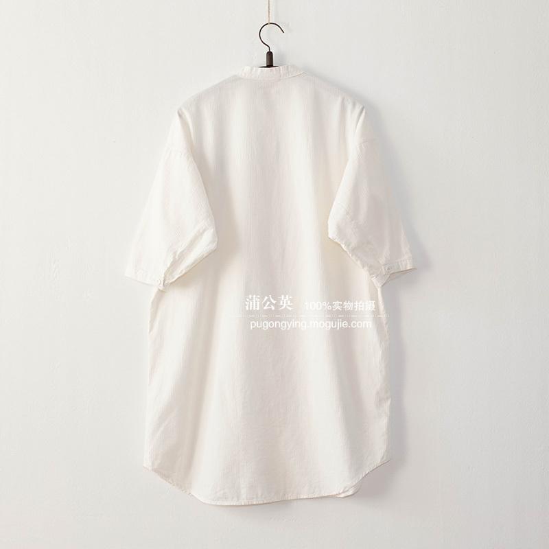 文艺刺绣童趣门襟长款棉质衬衣
