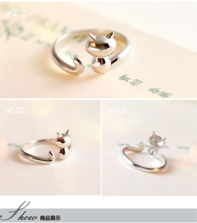 韩版925银可爱小猫戒指