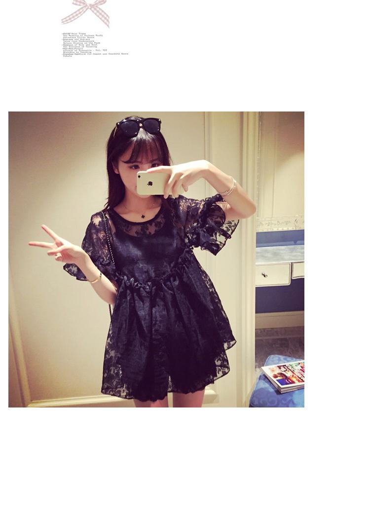 韩版小清新欧根纱可爱娃娃蕾丝衫