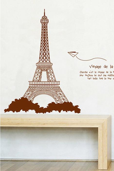浪漫艾菲尔巴黎铁塔墙贴纸