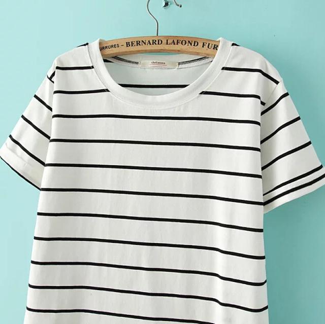 黑白条纹t恤-来自蘑菇街优店