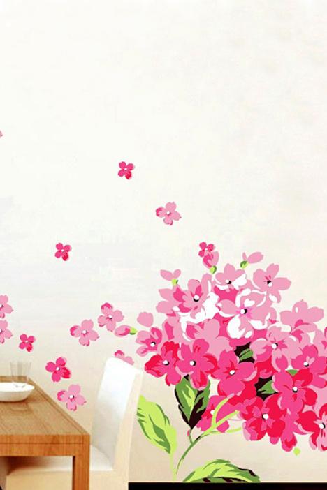 萌趣唯美粉色绣球花贴纸