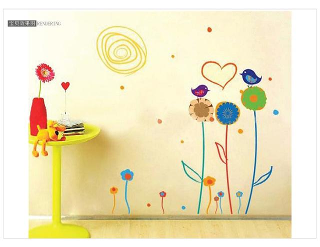 萌趣73可爱手绘小花墙贴-来自蘑菇街优店