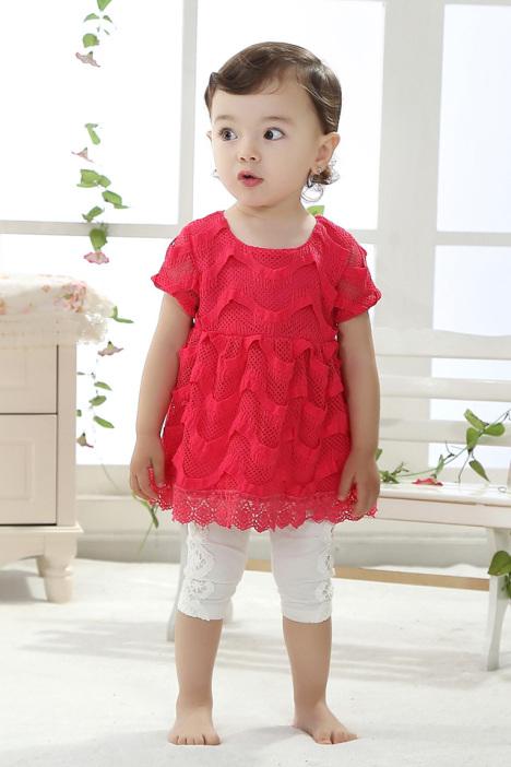 女童红色蕾丝公主裙套装