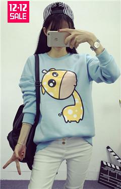 2015秋冬新款韩国学院风学生闺蜜装长袖卡通小动物加绒卫衣