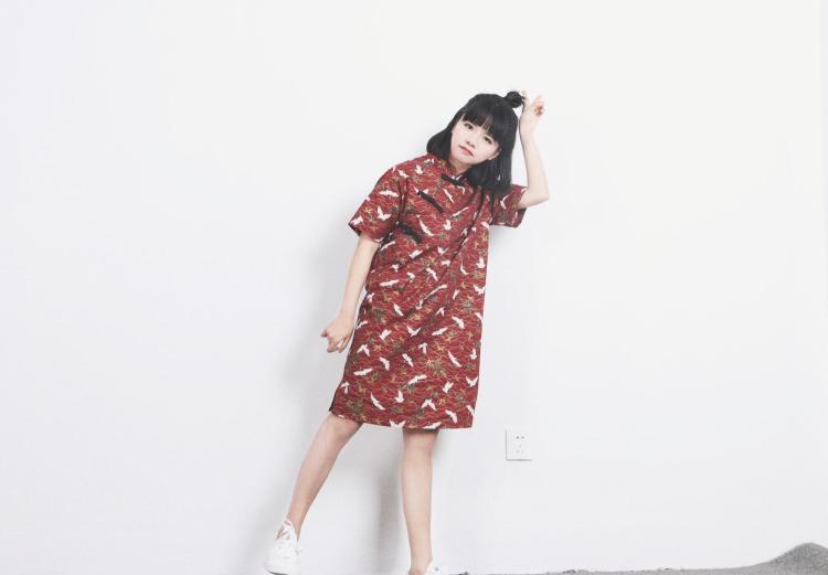小葱良裁 原创设计 斜襟扣 中式改良盘扣旗袍 日系和风仙鹤连衣裙
