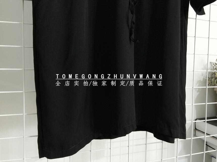 黑色棉麻连衣裙