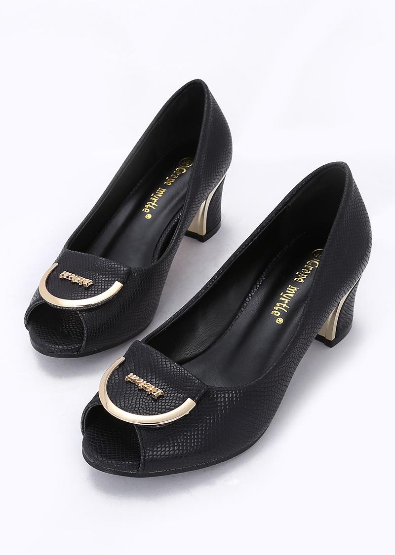 40大码秋夏款欧美时尚蛇纹方扣鱼嘴鞋办公室淑女鞋中粗跟小单鞋