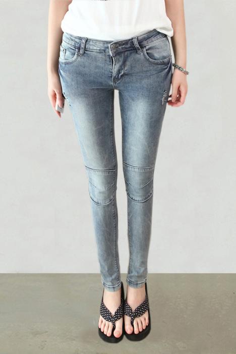 【首尔新款】韩版个性膝盖小脚铅笔牛仔裤