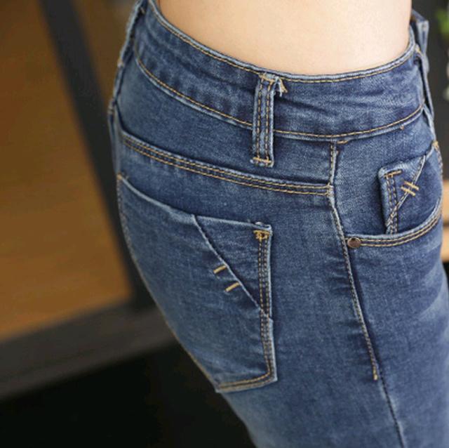 修身显瘦弹力紧身铅笔小脚牛仔裤