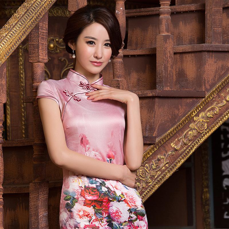 牡丹丝绸复古修身短旗袍
