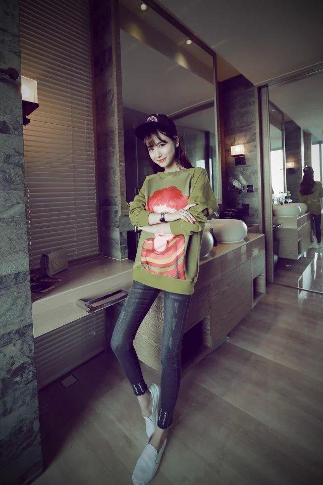 韩版甜美陆心媛同款可爱卡通女孩宽松印花卫衣