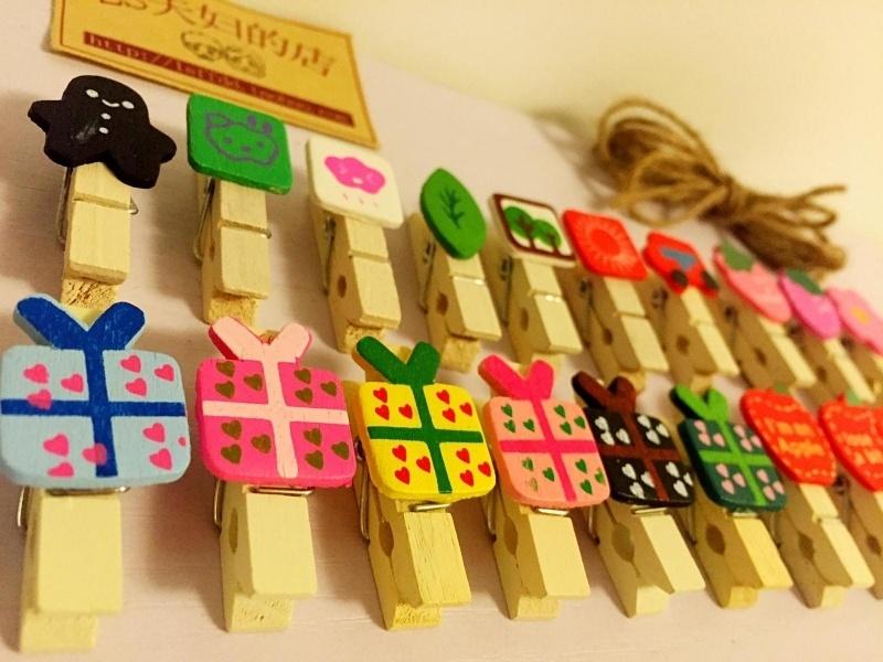爱生活 家居家饰 木质手工 创意拍立得照片夹子送麻绳特价包邮