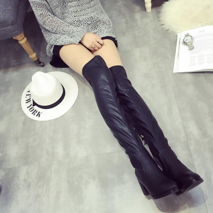欧美秋冬新款过膝瘦腿长靴穿着效果图片