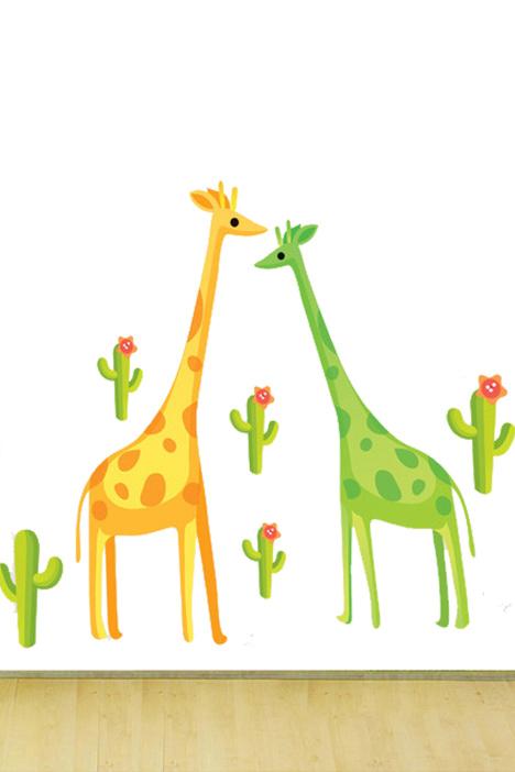 卡通动漫,动物贴画,小孩房装饰,卡通壁纸,可移除贴纸,幼儿园贴画,可爱