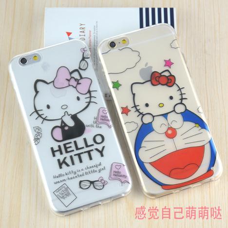 【可爱kt猫苹果6s手机壳卡通iphone6/6plus手机套】