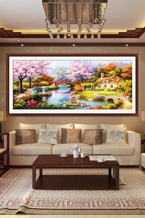 【钻石画满钻十字绣新款客厅大幅风景欧式花园小屋绣