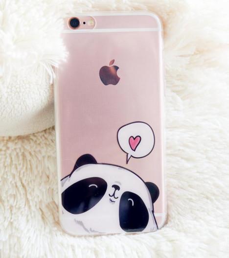 【萌萌熊猫可爱插画苹果6s手机壳iphone超薄透明保护