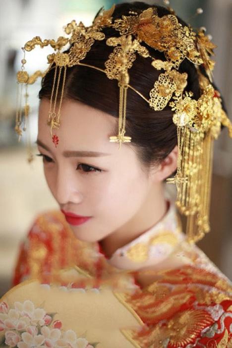 新娘古装头饰angelababy同款中式古装凤冠后梳发钗配饰图片