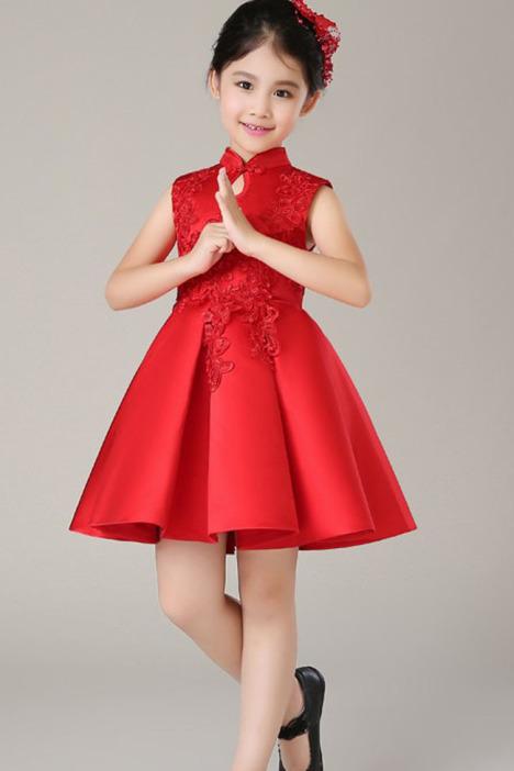 儿童旗袍,红色喜庆裙,唐装,儿童连衣裙,儿童过年裙,红色旗袍,夹棉裙子