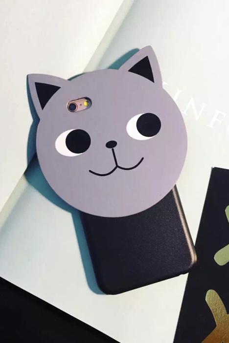 【韩国可爱呆萌表情猫咪iphone6s手机壳皮质卡通苹果