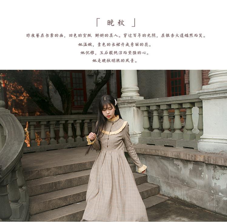 【民国风文艺淑女复古花边连衣裙小洋装】-衣服