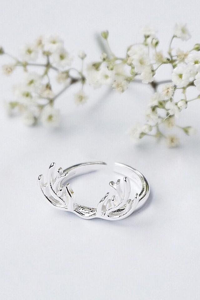 【韩国星星】s925纯银圣诞麋鹿角戒指