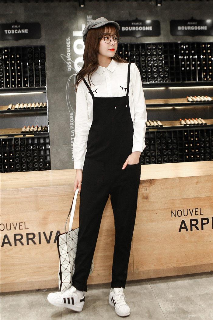 时尚搭配可爱白衬衫 背带裤套装