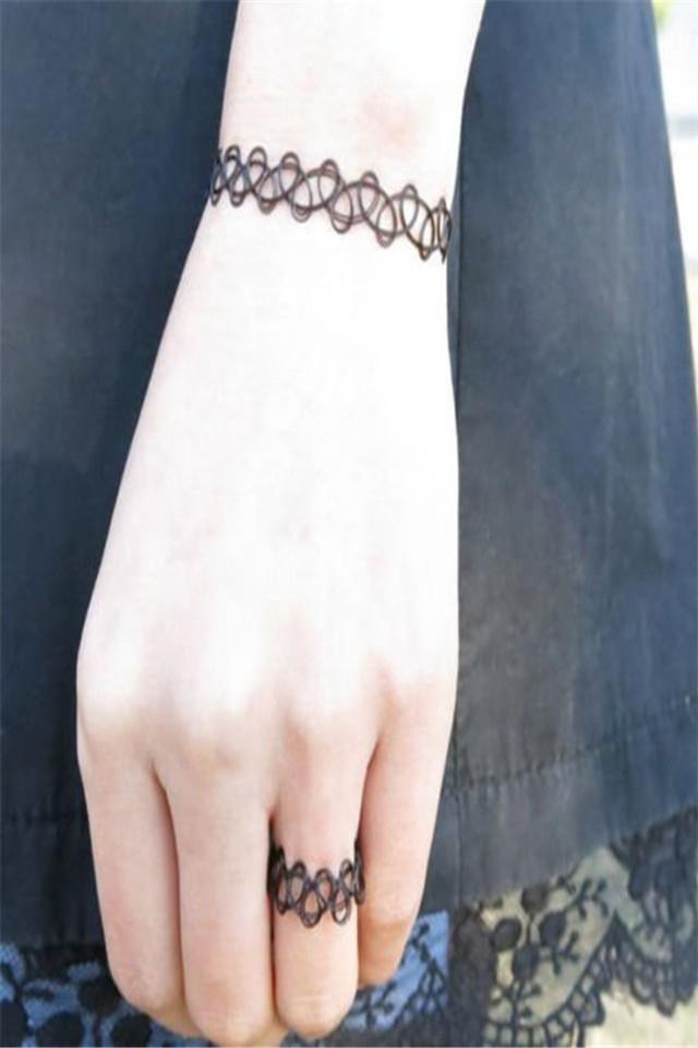 复古饰品 镂空纹身编织鱼线 弹力混搭项链手链戒指3件套