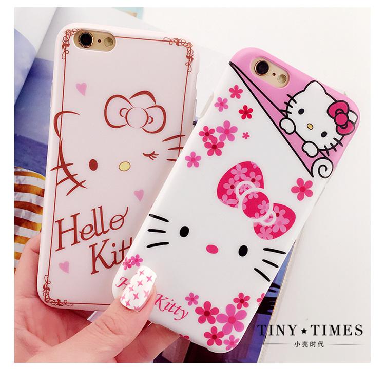 kitty 苹果iphone6凯蒂猫手机壳 6s全包边卡通硅胶套 plus磨砂软