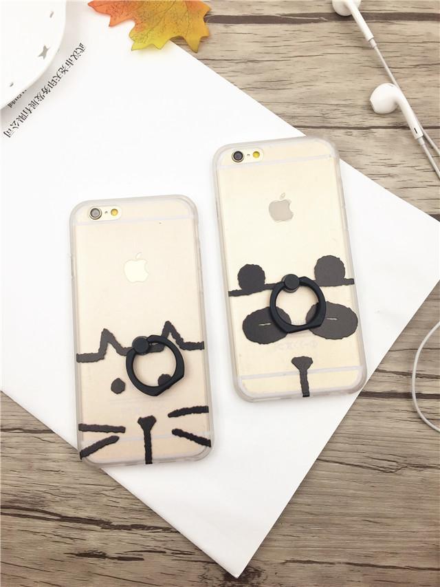 【素描小动物iphone6s手机壳苹果6plus指环扣支架壳