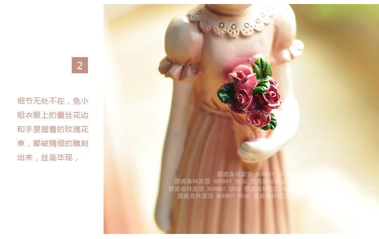 【欧式田园美式复古树脂情侣兔子新房结婚庆酒柜装饰
